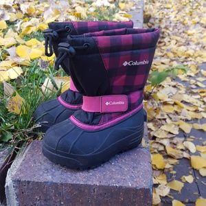 Columbia Powderbug Pink Plaid Snowboots