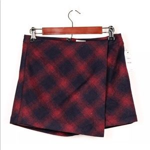 Hinge Red Black Plaid Wool Wrap Mini Skort Skirt