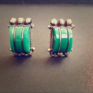 Vintage Green & Silver Mexican Earrings