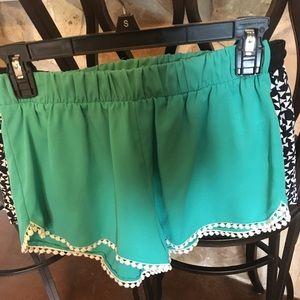 Pants - Turquoise embellished shorts