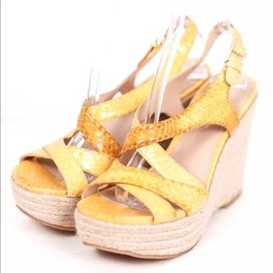 Via Spiga Yellow Gold Sandals Wedge Heel Snakeskin