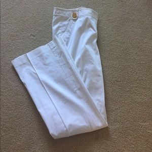 Tory Burch Gold Button Slack Pants White
