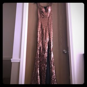 Formal Gown. Copper/Gold Sequin.