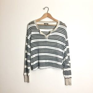 BDG striped cropped Henley