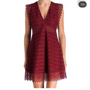 Sandro burgundy lace dress