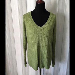 Ann Taylor Loft Pea Green Cable Knit Sweater XL