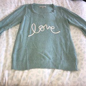 "Lauren Conrad Light Blue Sparkly ""love"" Sweater"