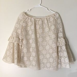 Vintage 70's Lace Peasant Bell Sleeved Top