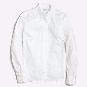 NWT J. Crew White Ruffled Button Down Shirt