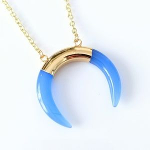 Gold-plated polished glass crescent moon necklace