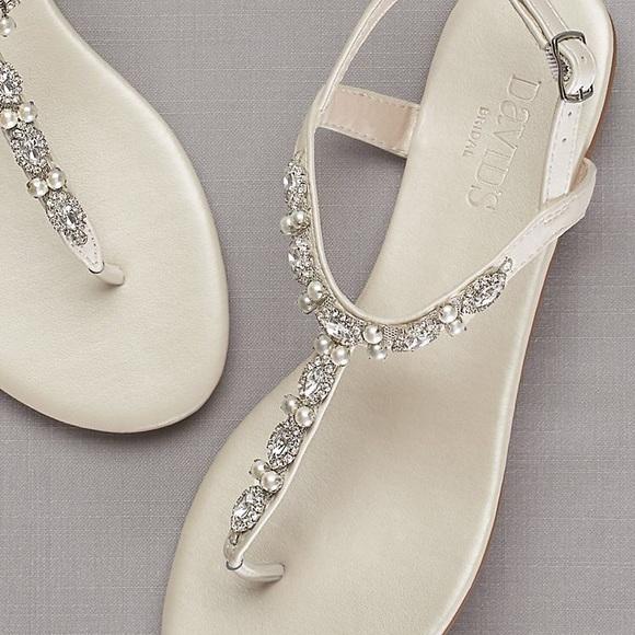 David s Bridal Shoes - Pearl   Crystal T-Strap Sandals