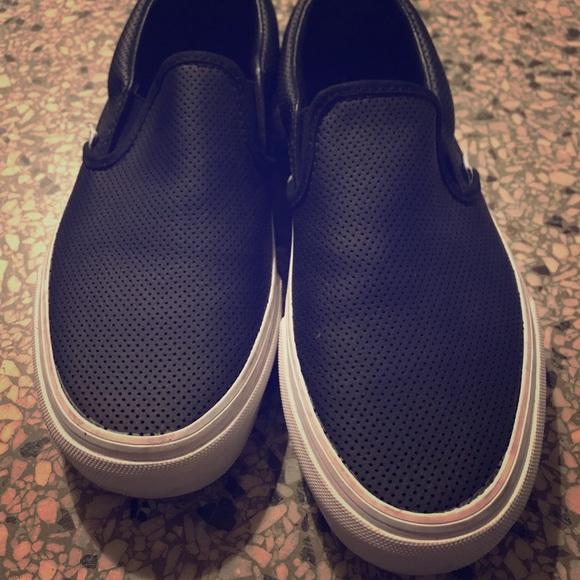 9a75f43c686 Vans Shoes - Vans Asher Perf Black Leather Slip-on