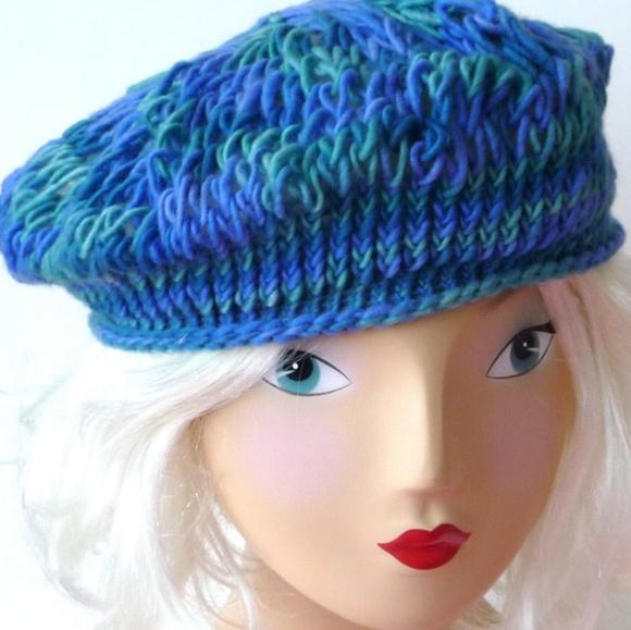 d21e7b74a3581 Beret Tam Hat Hand Knit Alpaca Wool Blues Greens