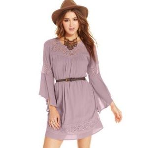 Lace belted dress.