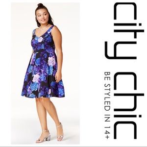 City Chic Floral Tulle Fit and Flare Dress Size 20
