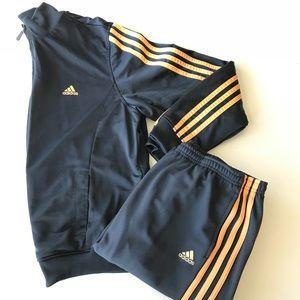 Adidas grey and orange stripe track suit