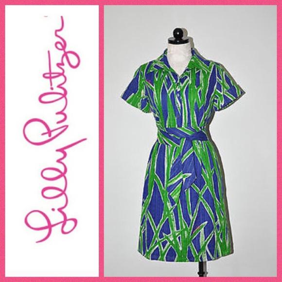 19e911ea7df6fa Lilly Pulitzer Leaf Print Shirt Dress. Size 6. M_59e76eb98f0fc418bf08b022
