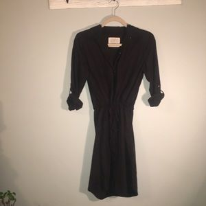 LOFT / black shirt dress with drawstring waist