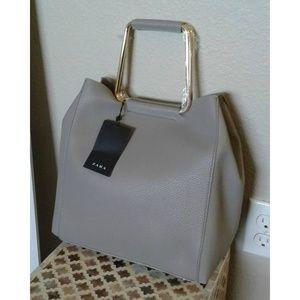 Zara gold hardware light gray leather bag
