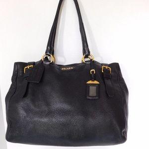 AUTHENTIC PRADA BLACK DEERSKIN Leather Tote BAG