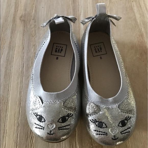 Baby Gap Girl/'s Fall /'18 Silver Metallic Bow Ballet Flat Shoes Sz 8 NWT