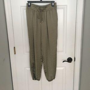 Zara satin jogger trouser Small olive green