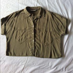 Beautiful Zara Basic Denim Cropped Shirt