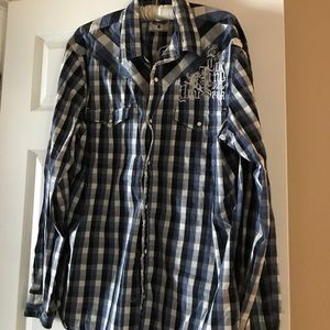 Express Men's Shirt XL in Blue Stripe