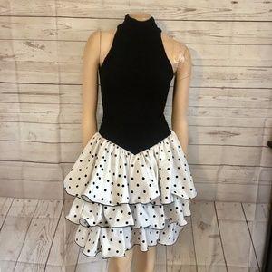 [Vintage] 80s Polka Dot High Neck Prom Dress