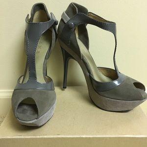 L.A.M.B Platform high-heeled suede shoes