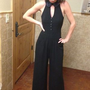 ELEVENSES BLACK JUMPSUIT WITH BEADED COLLAR