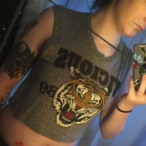 Tiger sleeveless crop top