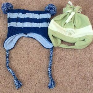 NEW girl 18-24m hat set blue knit green fleece NWT