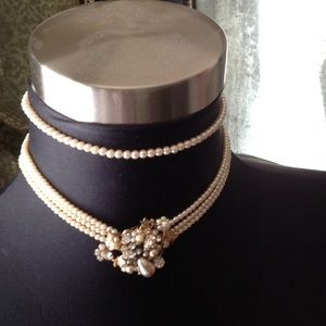Antique pearl choker necklaces 2 pair , with clip