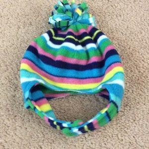 NEW girl 6-12m fleece hat striped NWT