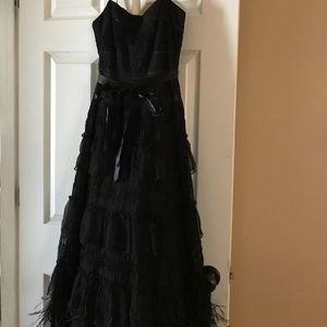 Black NWT Formal Long Dress Layered / Feathers 4