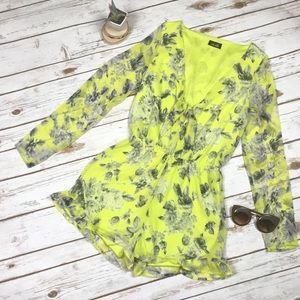 Dee Elle Neon Yellow Gray Floral Ruffle Romper