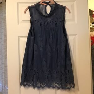Mock neck navy lace top