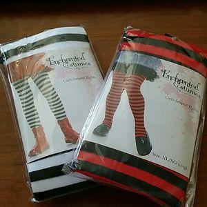Girls Striped Tights 11-13 XL Costume Halloween