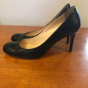 Christian Louboutin black leather heels sz 38 1/2