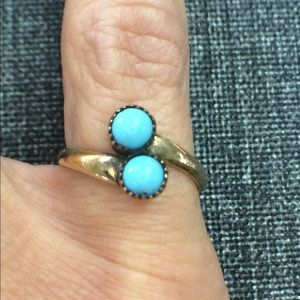 Jewelry - 14k Gold Vintage Estate natural Turquoise ring