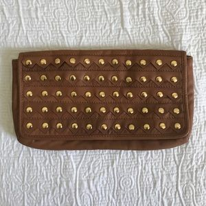 Cognac/ camel French Connection studded clutch