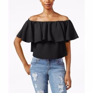 NEW Off-The-Shoulder Flutter-Sleeve Crop Top