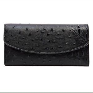 Handbags - Black Ostrich Checkbook Wallet