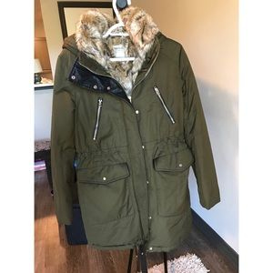 Olive green water repellent parka