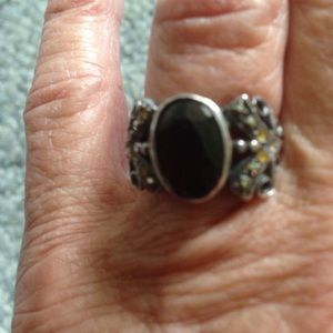 Jewelry - Size 6 92.5 Sterling Silver garnet Marcasite ring