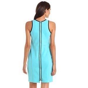 Exposed Back Zipper Bodycon Turquoise Dress