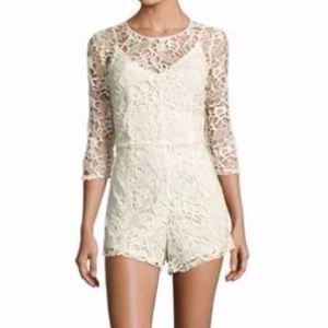 Alexia Admor Crochet Romper (Ivory)