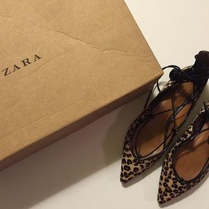 Zara leopard lace up flats