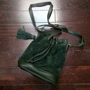 Evergreen Mini Suede Bucket Bag